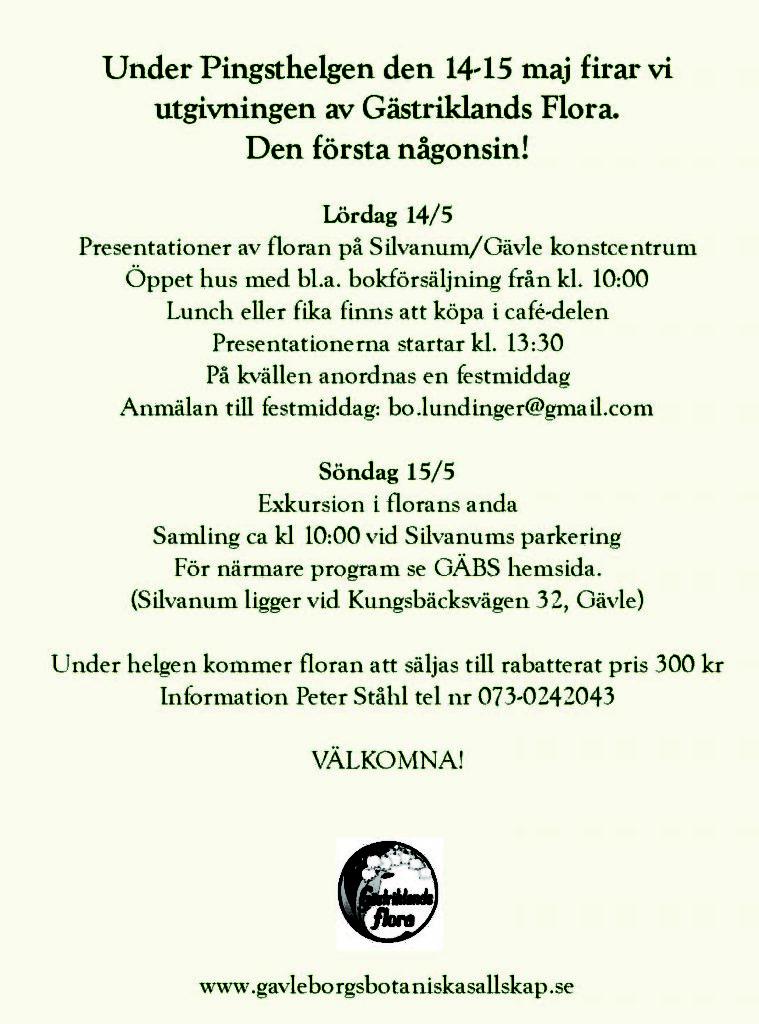 Inbjudan Gästriklands flora 2
